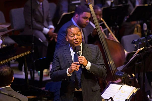 """Wynton Marsalis' penultimate lecture and performance in his series """"Setting the Communal Table: The Evolution of the Jazz Orchestra"""" centered on jazz's exploding popularity from the 1920s to the early '40s. He performed with the help of pianist Dan Nimmer (photo 2) and an orchestra (photo 3)."""
