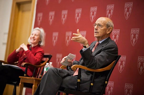 """It's a very, very interesting job,"" said Associate Justice Stephen Breyer in a chat with Harvard Law School Dean Martha Minow on Tuesday. ""But more than that, it matters to people, and that is a tremendous source of satisfaction if you can continuously recognize that and just do your best."""
