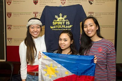 """Being so far away, I feel that the distance makes it really difficult to fully comprehend what has happened and what is going on in terms of relief efforts,"" said Michelle Ferreol '15 (right), who, along with fellow Harvard Philippine Forum members Shannen Kim '15 (left) and Riana Jumamil '14, is launching a T-shirt line to further fundraising efforts for those affected by Typhoon Haiyan."
