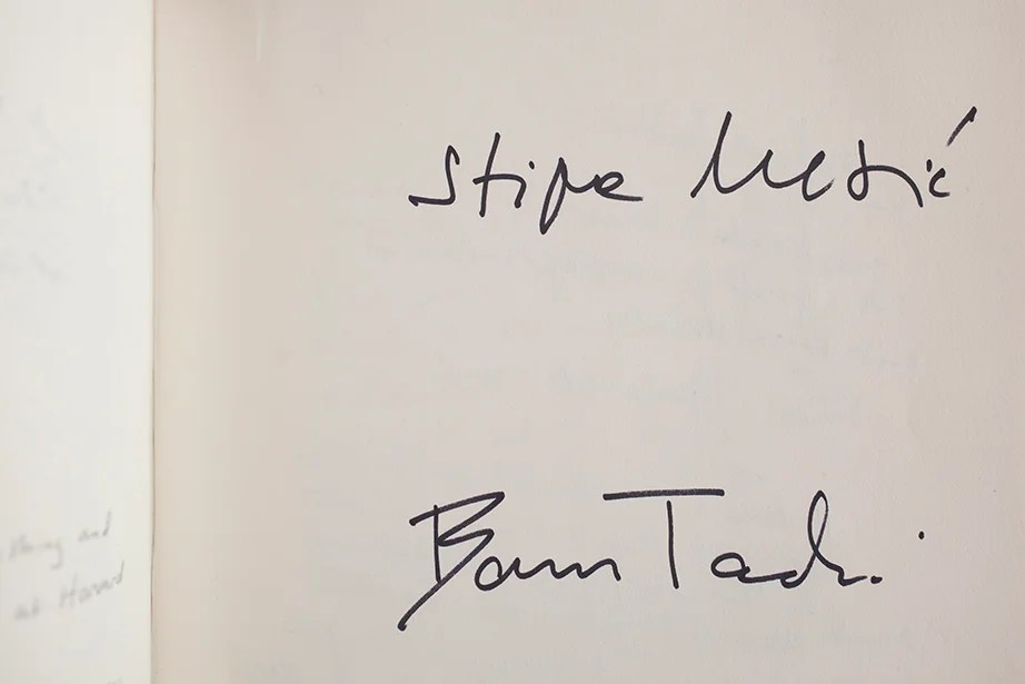 Former enemies Stjepan Mesic (Croatia) and Boris Tadic (Serbia) signed the Wadsworth House guest book in 2006 after a joint appearance at the Harvard Kennedy School.
