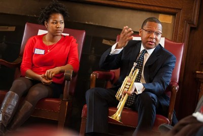 """We're hot-tempered; we fight all the time. But we're playful too,"" said Wynton Marsalis of residents of New Orleans, his hometown, in a conversation about the city with Erin Drake '14 (pictured), Ph.D. candidate Tom Wooten, Pusey Minister and Plummer Professor of Christian Morals Jonathan Walton, and Gene Corbin, assistant dean of student life for public service."