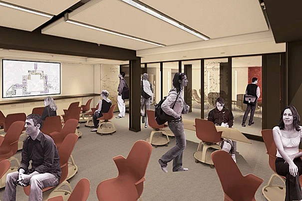 """A new """"smart classroom"""" (photo 1), lounge space (photo 2), and fitness room are all part of the Dunster House renewal. One of the squash courts on the lower level of Dunster House (photo 3) will be transformed into a multipurpose recreation room. Additional courts will be converted to exercise and fitness space. The work will begin immediately following Commencement, taking the House offline for 15 months."""