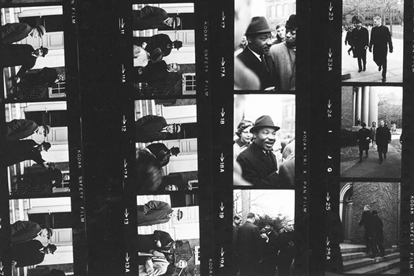This contact sheet captures Martin Luther King Jr.'s January 1965 visit to the Memorial Church to deliver a speech.