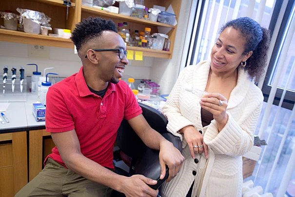 "Grad student Delbert André Green II (left) and Associate Professor Cassandra Extavour have been able to show how phenotypic plasticity may be connected to evolution in a single mechanism — insulin signaling in fruit flies. ""This is the first example, to my knowledge, that shows this link — between heritability and plasticity — being controlled by the same mechanism,"" Extavour said."