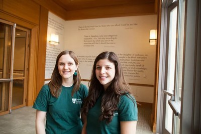 """Harvard Environmental Law Society co-presidents Genevieve Parshalle '15 (left) and Cecilia Segal '15 curated the framework of the National Association of Environmental Law Societies Conference around environmental justice, which, said Segal, """"is more interdisciplinary and touches on things like social justice, civil rights."""""""