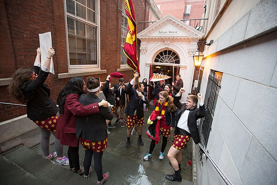 Adams House residents rally in the courtyard before processing into Harvard Yard. Rose Lincoln/Harvard Staff Photographer