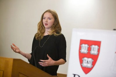 """In describing the basis of her website and app, Impossible.com, Lily Cole asked her Harvard Law School audience to consider this: """"Imagine everybody in this room was there to support you. ... Imagine if everybody in the world you knew would support you if you needed it. The small price to pay is that where you see the opportunity to help another, you can and you do."""""""