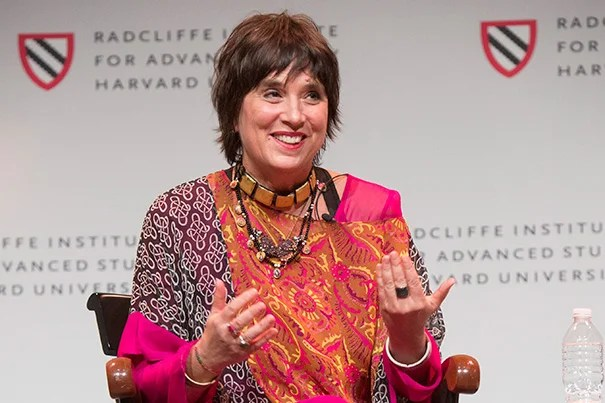 """Eve Ensler shared her story during the opening of the Radcliffe conference """"Who Decides? Gender, Medicine, and the Public's Health."""""""