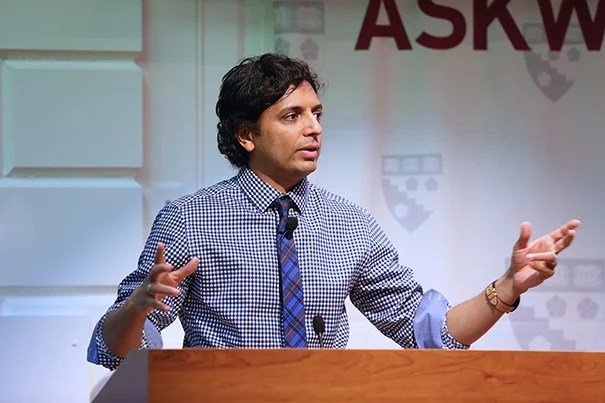 "In a Harvard Graduate School of Education EdCast and Askwith Forum, filmmaker M. Night Shyamalan spoke about his unlikely book on education reform, his unique ""outside"" perspective on education, and his data-driven approach to closing the education gap."