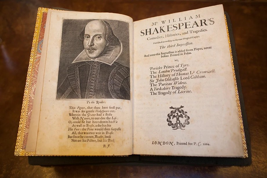 A rare copy of William Shakespeare's Third Folio is part of the collection.