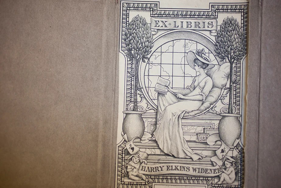 Harry Elkins Widener's bookplate, designed by English illustrator Walter Crane, is affixed to every volume in the collection.