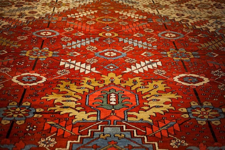 A Persian Heriz rug is part of the room's original decor.