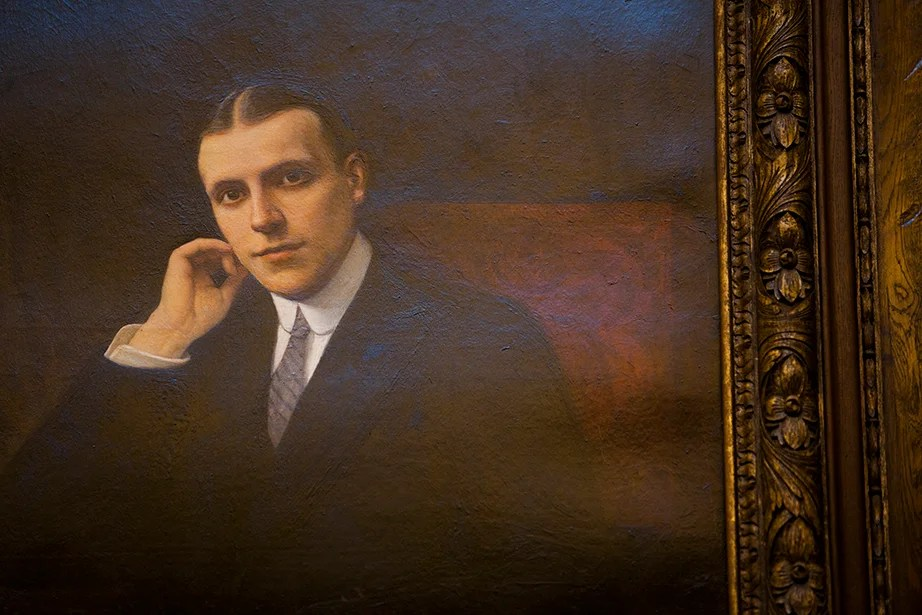 A painting of Harry Elkins Widener by French artist Gabriel Ferrier hangs above the room's fireplace.