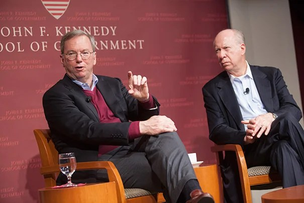 """In a talk with David Gergen (right), Google CEO Eric Schmidt set forth a local challenge. """"Here in Cambridge, we have some of the smartest people in the world … If I can be critical for a sec: Why have you guys not produced the equivalent of Twitter, Facebook, Google, and so forth? I don't know,"""" he said. """"So there's an action item for you."""""""