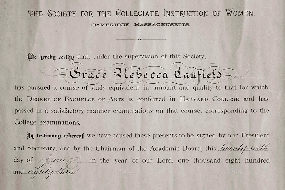 An 1883 Certificate From The Society For Collegiate Instruction Of Women Attesting That Grace Rebecca