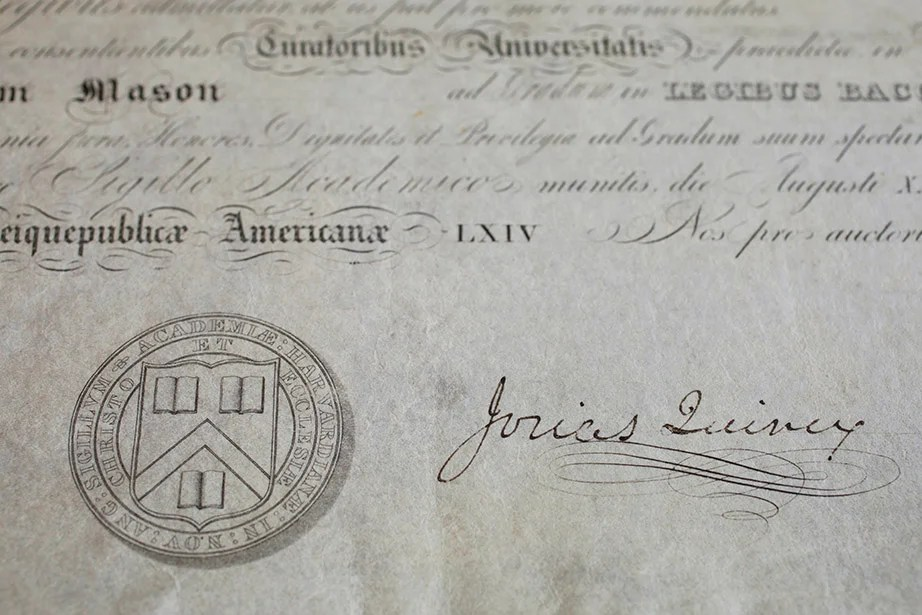 The Earliest Harvard Law School Diploma In Universitys Collections From 1839 It Memorializes