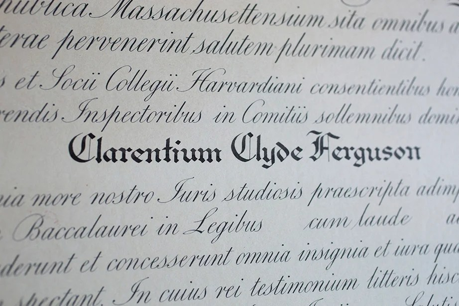 The Latin Text LLB Diploma Of Clarence Clyde Ferguson Jr