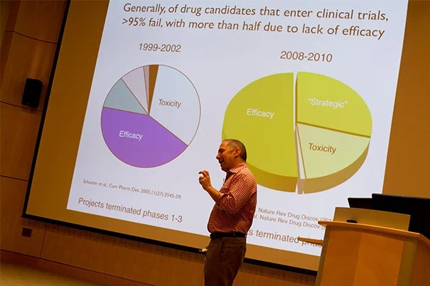 """Searching for """"broken genes"""" — those whose protective effects come from shutting off and ceasing to function — gives drug companies an important leg up, explained David Altshuler, professor of genetics and medicine at Harvard Medical School. Creating a drug to stop a gene from working is less complicated than creating one to turn a gene on, make it go faster, or change how it functions. During the Broad Institute's summer lecture series, Altshuler was explaining the recent discovery of a genetic mutation that protects against type 2 diabetes."""