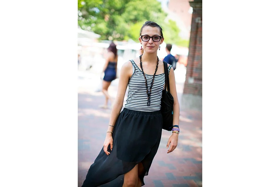 """""""I don't do expensive clothing. Everything was super cheap,"""" said Andrea Escudero, a Harvard Summer School student from Mexico City. """"My necklace is from Oaxaca and the purse, too."""""""