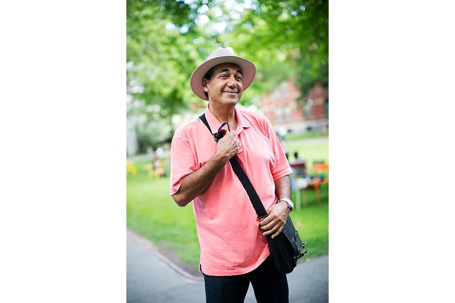 According to Antonio Magaldi, a lawyer visiting his daughter who is a research fellow, fashion in Boston is very similar to that in his native Brazil, where a salmon-colored shirt is the norm because there it's summer all year long.