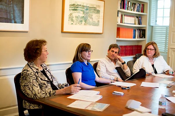 Harvard Medical School (HMS) Professor Barbara McNeil (from left), Kennedy School Professor Brigitte Madrian, HMS Professor Michael Chernew, and Harvard Divinity School Executive Dean Patricia Byrne are four members of the University Benefits Committee, which advised on recent reforms to the University's benefits plans.