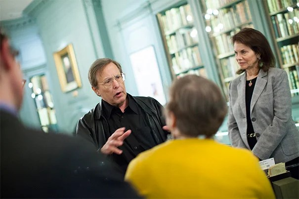 """At Houghton Library, Academy Award-winning filmmaker William Friedkin (left) gifted Harvard with the original documents for """"The Friedkin Connection."""" Friedkin, director of """"The Exorcist"""" and """"The French Connection,"""" was joined by his wife, Sherry Lansing (right). Friedkin's memoir materials mark a new kind of collection for Harvard — cinema memoir."""