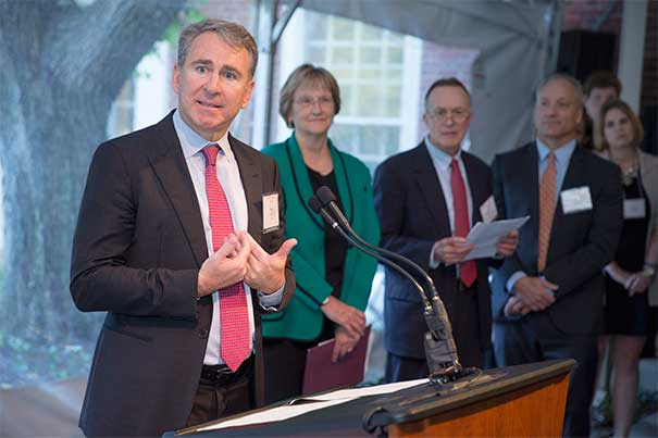 """A reception celebrating the naming of the Griffin Financial Aid Office in honor of donor and alum Ken Griffin '89 (left) was held Thursday at the Brattle Street office. """"Simply put, my Harvard experience changed my life,"""" said Griffin.  Joining Griffin were President Drew Faust, William Fitzsimmons, dean of admissions, and Michael D. Smith, Edgerley Family Dean of the Faculty of Arts and Sciences."""