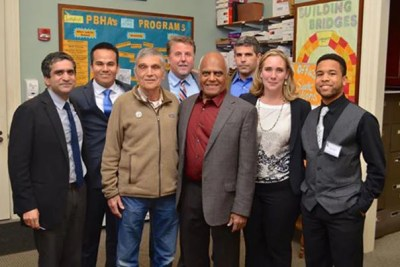 The Robert Coles Call of Service award ceremony brought together Harvard College Dean Rakesh Khurana (from left), Jose Magana, Robert Coles, Gene Corbin, Bob Moses, Michael Coles, Maria Dominguez Gray, and Jalem Towler.