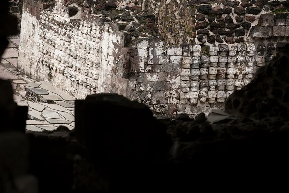 The view inside the archaeological zone of the Museo del Templo Mayor. Stephanie Mitchell/Harvard Staff Photographer