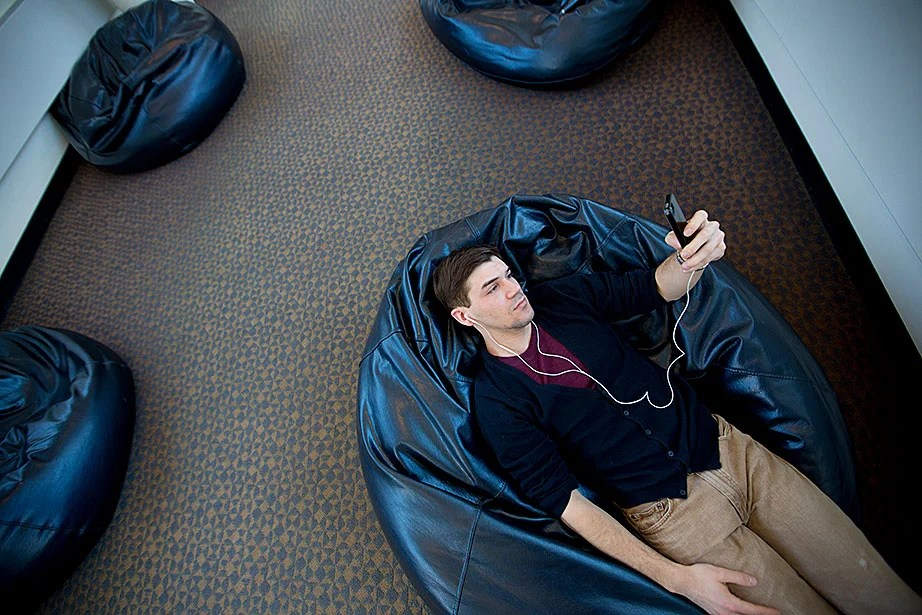 """""""The beanbags are one of the few, rare spaces at the Law School to escape the busyness of the place,"""" said a student taking advantage of a quiet moment."""