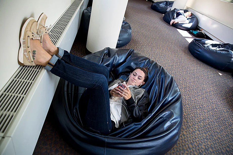 Kristin Bruner, an HLS staffer who works in Faculty Research & Information Delivery Assistance, comes to Beanbag Alley nearly every day during her break.