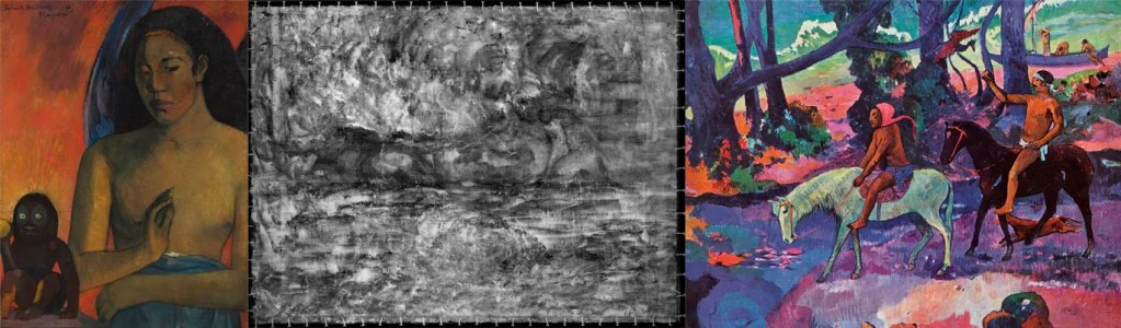 """""""Our systematic technical examination of the Wertheim paintings revealed that Gauguin re-used another painting for 'Poèmes Barbares.' Using X-radiography, we discovered a landscape with two riders on horseback, oriented at a 90-degree rotation from the portrait underneath the female portrait. Seeing them is a bit like solving a 'Where's Waldo' game,"""" said paintings conservator Teri Hensick. """"New digital imaging techniques (layering, rotating in Photoshop) helped us see the covered image more clearly."""" Above, Gauguin's """"Poèmes Barbares,"""" is pictured (left) next to the X-radiograph image taken by Harvard conservators (center) and a similar Gauguin painting, """"Flight,"""" (right) painted in 1901 and in the collection of the Pushkin State Museum of Fine Arts in Moscow. (left) Paul Gauguin, """"Poèmes Barbares,"""" 1896. Photo: Harvard Art Museums, © President and Fellows of Harvard College. (middle) """"Poèmes Barbares"""" (X-radiograph). Photo: Harvard Art Museums/Straus Center for Conservation and Technical Studies, © President and Fellows of Harvard College (right) Wikimeida Commons"""