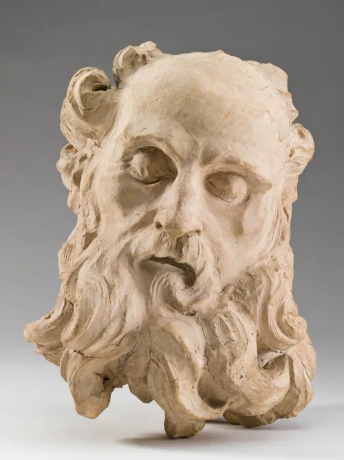 """Sculptor Gian Lorenzo Bernini's """"Head of Saint Jerome,"""" c. 1661, part of the Fogg Museum's collection, is one of 13 terra cotta models on view in one of the museums' two winter garden galleries. Photo: Harvard Art Museums, © President and Fellows of Harvard College"""