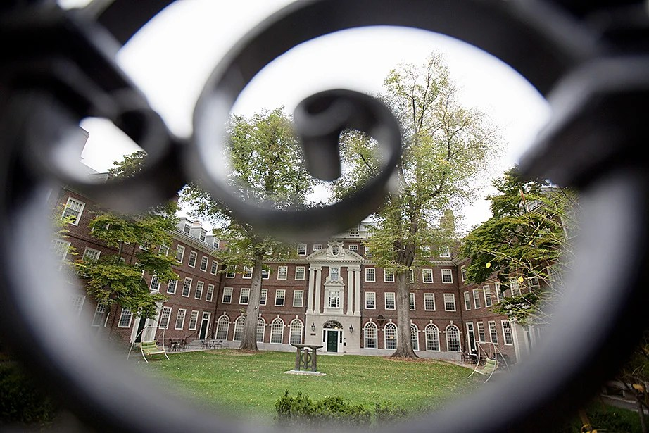 McKinlock's courtyard is framed by ornate gateways. Kris Snibbe/Harvard Staff Photographer