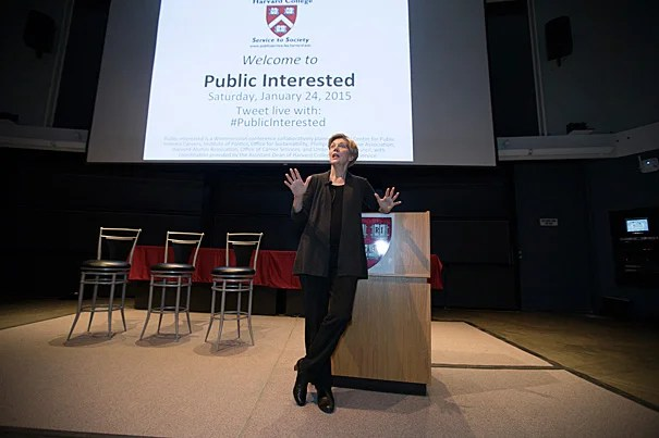 """Don't have such a narrow vision that when doors open that look sideways and at awkward angles that you don't have the courage to step through them, because that is where you truly get the opportunities to make a difference,"" said U.S. Sen. Elizabeth Warren during her keynote address for ""Public Interested."""