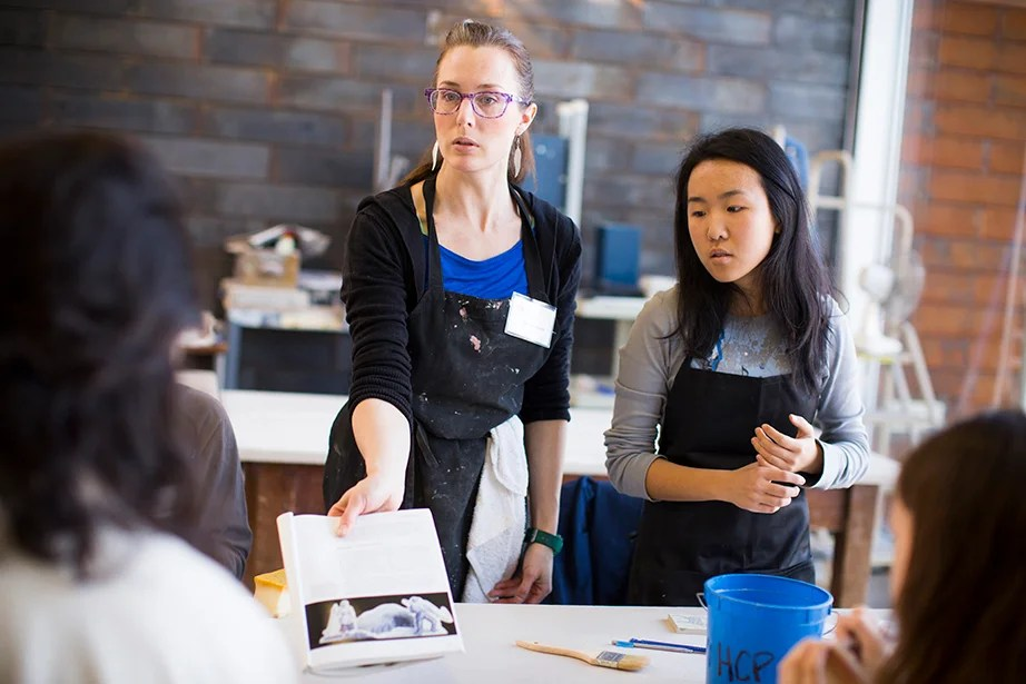 Jessica Brandl (left) and Yvenna Chen '17 speak about various printmaking methods during class. Stephanie Mitchell/Harvard Staff Photographer