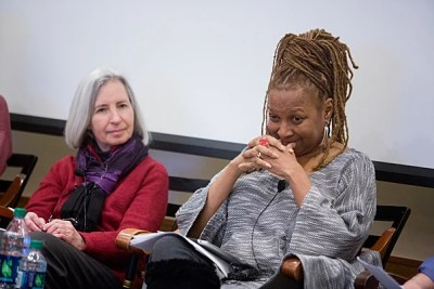 """The death of two unarmed black men by white officers in Missouri and New York raised questions in every corner of  Harvard University. A shift from protests to calls for discussion prompted events across campus. A Harvard Law School symposium, """"Law School or Justice School: Connecting the Dots Between Harvard and Ferguson,"""" was held in February. Dean Martha Minow (left, photo 1) and Kimberlé Crenshaw, Distinguished Professor of Law UCLA, addressed a capacity crowd at the event (photo 2). A fall panel at Harvard Kennedy School, convened by Professor Charles Ogletree (left, photo 3), reflected on the broad social, legal, and political issues raised by the protests in Ferguson, Mo."""