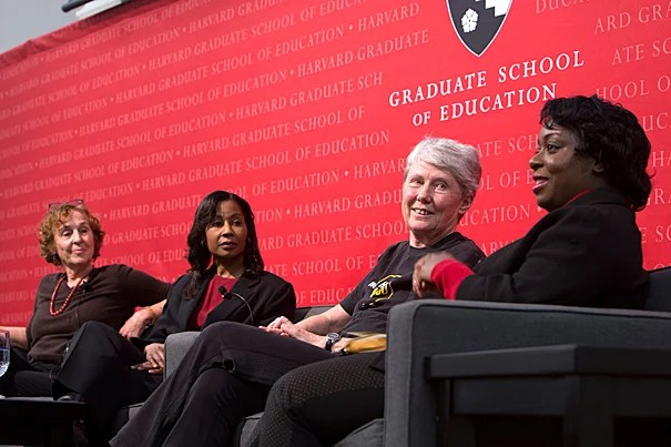 Speaking at the Girls, Women and STEM forum, panelists Jane Margolis (from left), Stephanie Wilson, Maria Klawe, and Kimberly Bryant discussed the shortfall of women in STEM fields and the need for change when it comes to educational opportunities and equal employment.