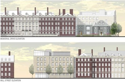 "The most visible change in the plan for the Winthrop House renewal is the construction of a contemporary addition to Gore Hall, dubbed ""Winthrop East."" The Memorial Drive elevation is pictured in the top image and the Mill Street elevation in the bottom image (rendering 1). The proposed site plan for Winthrop House (rendering 2) includes new House entrances."