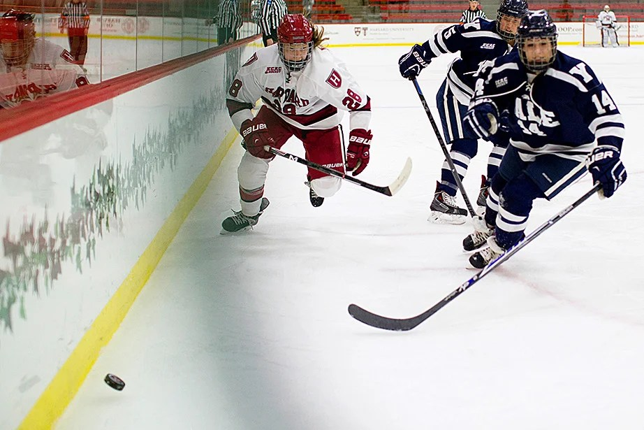 Abbey Frazer '17 rushes to beat her Yale opponent to the puck during the first ECAC women's hockey quarterfinal game. Rose Lincoln/Harvard Staff Photographer