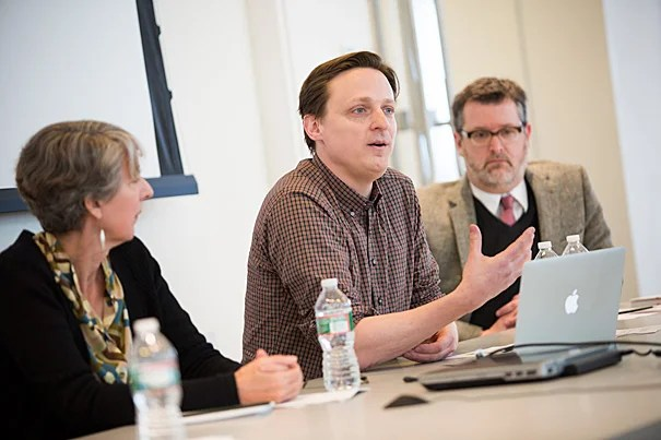 New technology used to restore Rothko's murals at the Harvard Art Museums was the focus during a two-day program for scholars, students, and the public. Day two of the program featured a bevy of speakers including Martha Buskirk (from left), Matt Saunders, and Brad Epley.