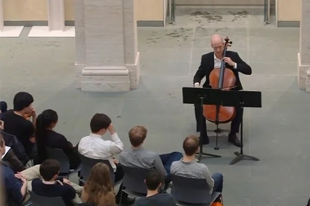As part of a course on music composition, Harvard students created original works inspired by objects in the Harvard Art Museums collections. Those compositions were recently brought to life by cellist Neil Heyde of London's Royal Academy of Music at a concert held in the Calderwood Courtyard.