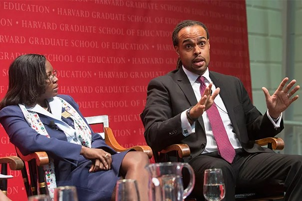 "Tiffany Anderson (left), superintendent of the Jennings, Mo., school district, and Tracey Benson, Ed.L.D. '16, were panelists Monday night at an Askwith Forum titled ""Ferguson and Beyond: Educational Strategies to Address Racism and Social Injustice."""