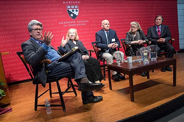 The Harvard Graduate School of Education (HGSE) held a special Askwith Forum aimed at addressing the American educational crisis. The talk was hosted by Fernando Reimers (from left), director of HGSE's Global Education and International Education Policy Program, and featured professors Rosabeth Moss Kanter, William Clark, Diana Eck, and Howard Koh.