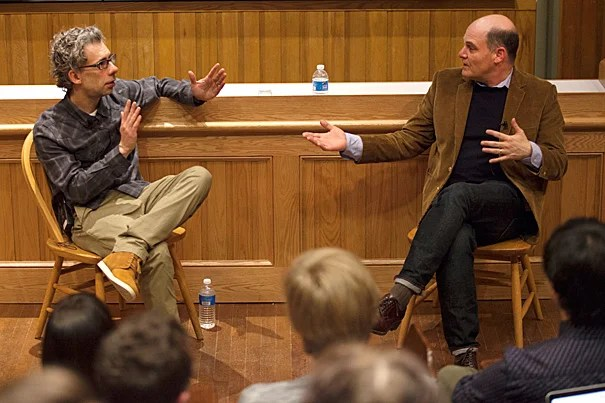 "????'Is this it?' and 'What's wrong with me?' These two questions are at the heart of the show,"" said ""Mad Men"" creator and head writer Matthew Weiner (right) during a LITFest-sponsored conversation with Director of Creative Writing Bret Anthony Johnston."