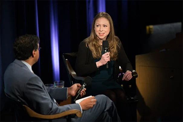Inaugural recipient of the Next Generation Award Chelsea Clinton was at Harvard to confer this year's award, but she also sat down with Atul Gawande, a professor in the Department of Health Policy and Management at the Harvard T.H. Chan School of Public Health and executive director of Ariadne Labs, to discuss public health challenges, approaches, and priorities.