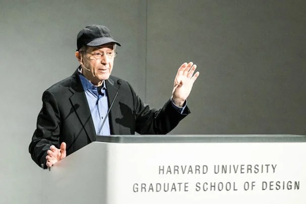 """Composer Steve Reich spoke to the GSD audience about """"WTC 9/11,"""" his haunting composition written during the construction of the 9/11 Memorial. The piece demonstrates the medium's unique ability to recall not only the defining moment of loss, but the trauma that continually threatens to erase it from memory."""