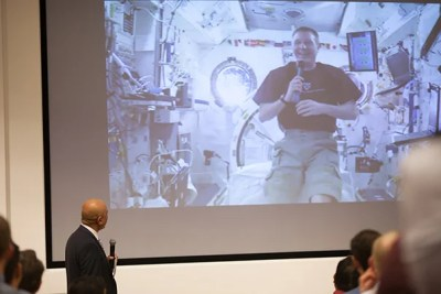 """Terry Virts, commander of the International Space Station and a 2011 alumnus of Harvard Business School's General Management Program, chatted live from orbit about his experiences. """"To be honest, that was the best commander training I had,"""" he said of the HBS program."""