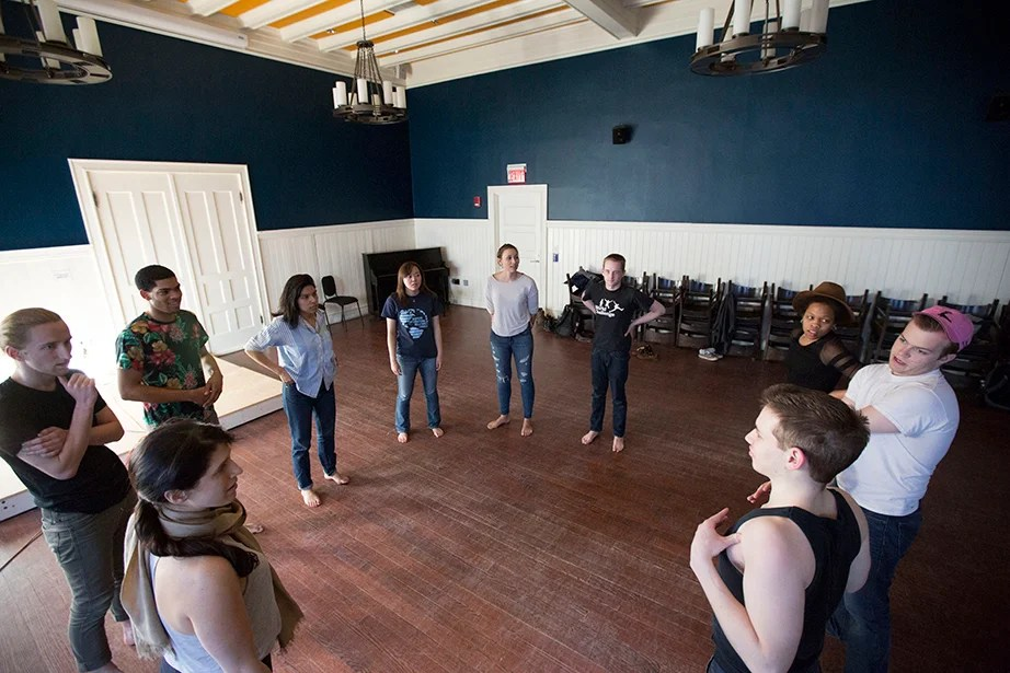 """Students in """"Dramatic Arts: Acting and Authenticity"""" prepare as guest teacher Olivia D'Ambrosio (bottom left) observes. Kris Snibbe/Harvard Staff Photographer"""