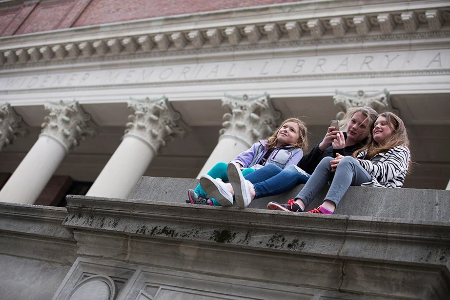 Atop A Wall On The West Side Of Widener Stairs Are Eva Alonzo From Left Age 8 Maggie Carroll 14 And Grace 10